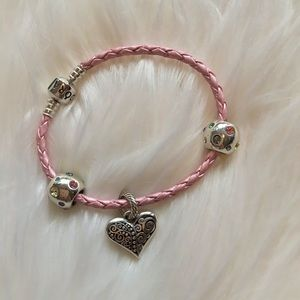PANDORA Pink Leather Cord Bracelet and Charms